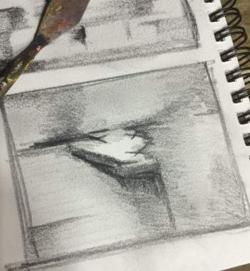 Thumbnail sketch for paintings #41 and #42