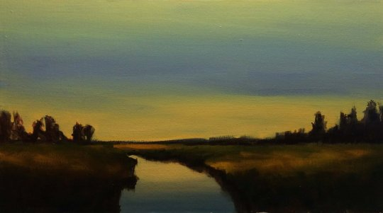 Oil Painting #37 Marshland at Sunset (45 x 25.3 cm)