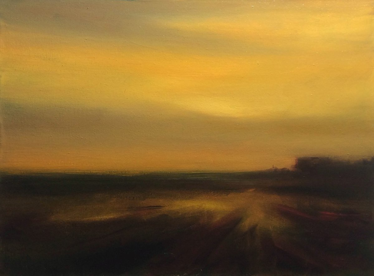 #38 Tonal Landscape at Dusk (Oil on Canvas mounted on Panel, 45.5 x 34 cm)