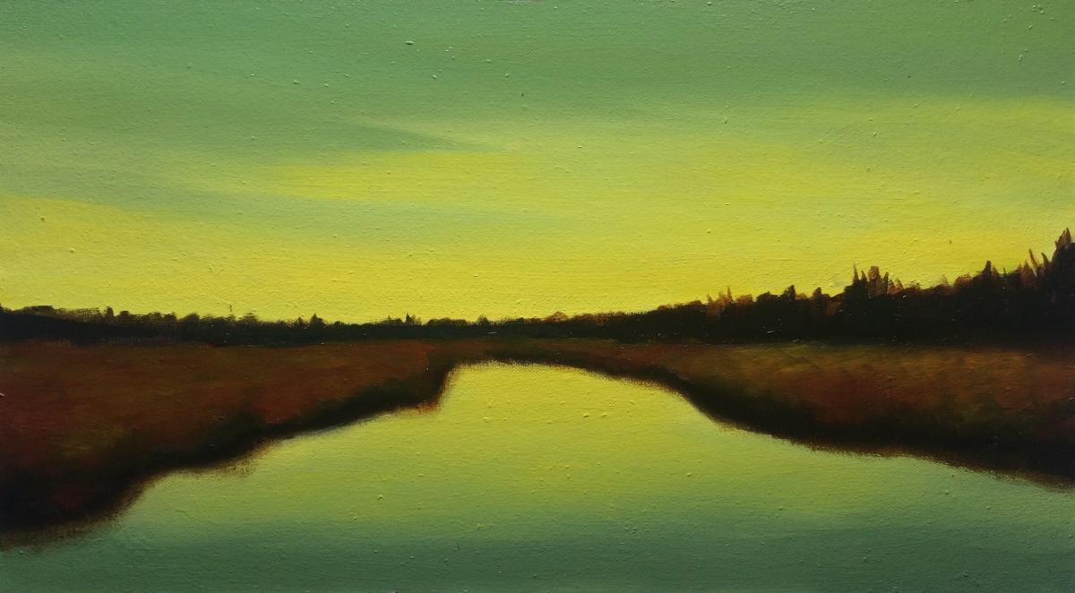 #49 Landscape at Dusk (Oil on Canvas Panel, 45 x 25 cm)