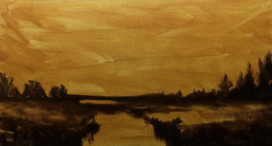 Oil Painting #37 Marshland at Sunset (45 x 25.3 cm) - Underpainting