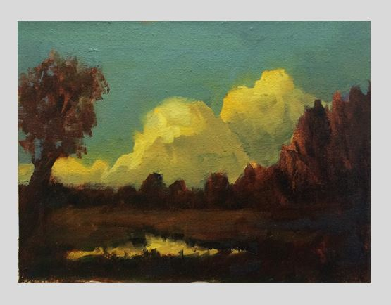 #51: Landscape with Clouds (Oil on Canvas Panel, 8 x 6 inches)