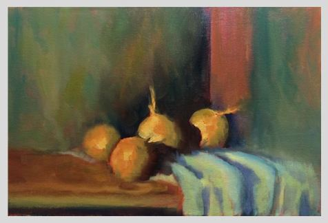 #53: Still Life with Onions (Oil on Canvas Panel, 34 x 23 cm)