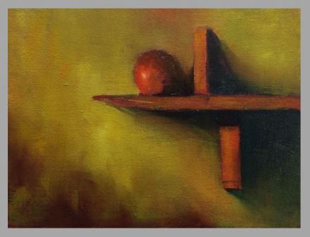 #57: Still Life with Shelf (Oil on Canvas Panel 8 x 6 inches)