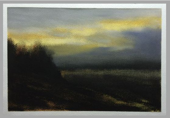 #60: Ancient Skies (Charcoal and Waterolor on Paper, Approx A4 size)