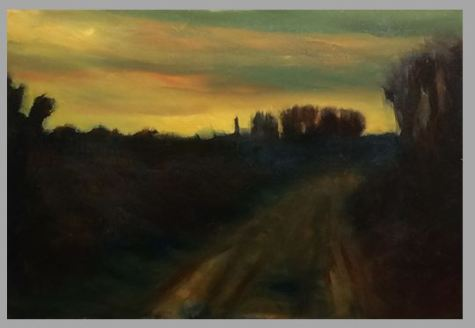 #61: Road at Dusk (Oil on Canvas Panel)