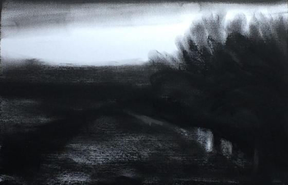 #64: Edge-of-Camp (Charcoal on Paper, approx A3 size)