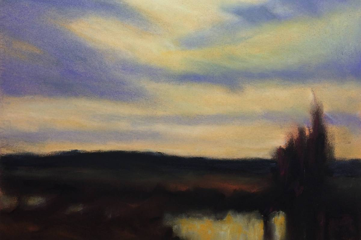 #P7: River at Dusk (watercolor and pastel on Fabriano HP paper)